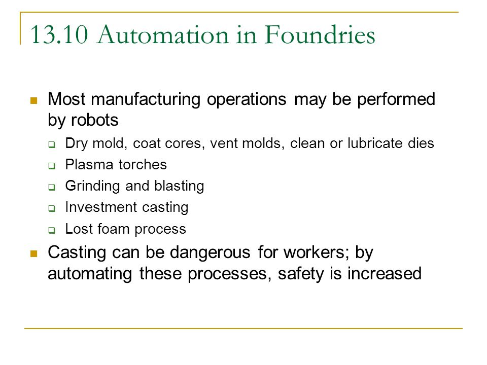 13.10 Automation in Foundries