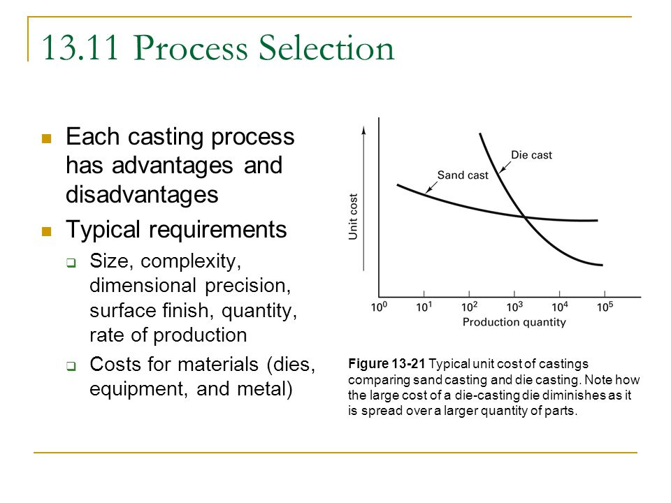 13.11 Process Selection Each casting process has advantages and disadvantages. Typical requirements.