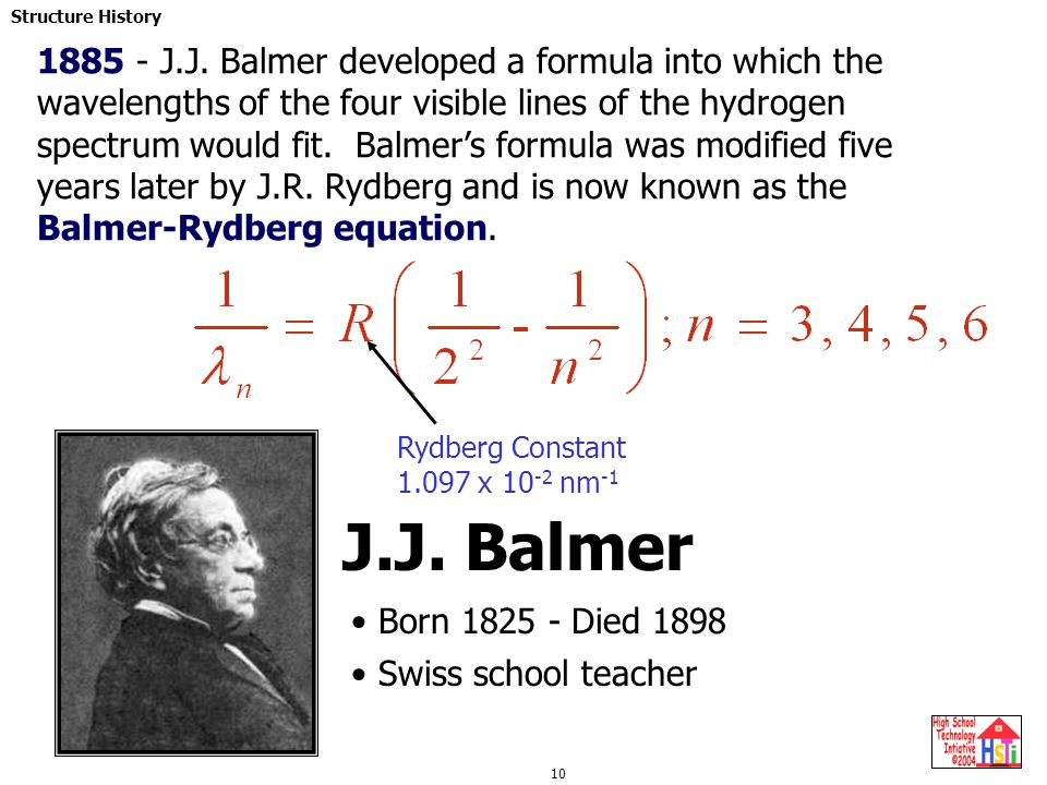 1885 - J.J. Balmer developed a formula into which the wavelengths of the four visible lines of the hydrogen spectrum would fit. Balmer's formula was modified five years later by J.R. Rydberg and is now known as the Balmer-Rydberg equation.