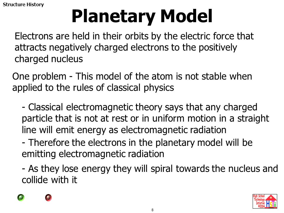 Planetary Model Electrons are held in their orbits by the electric force that attracts negatively charged electrons to the positively charged nucleus.