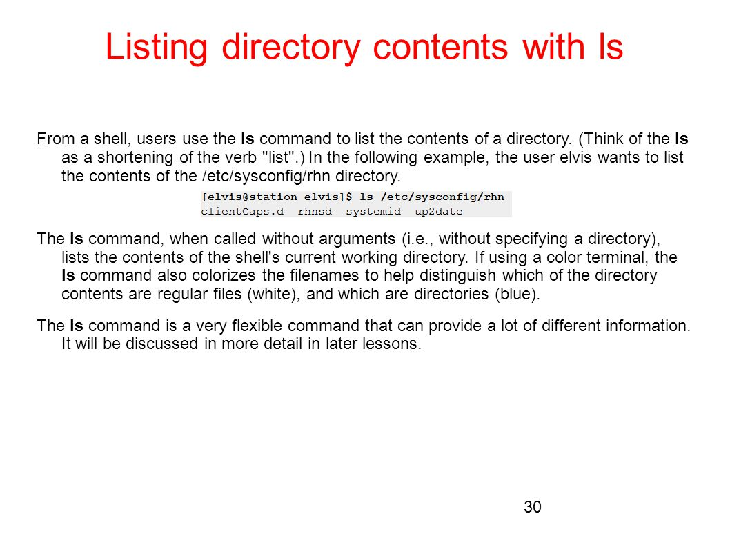 Listing directory contents with ls