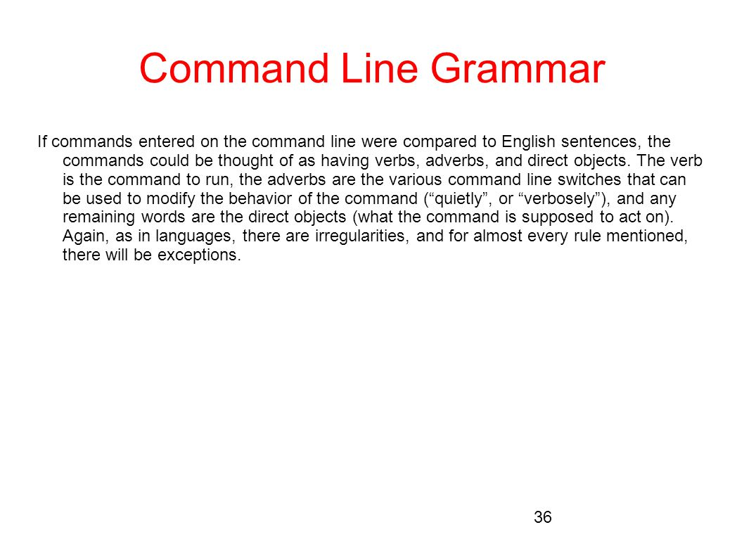 Command Line Grammar