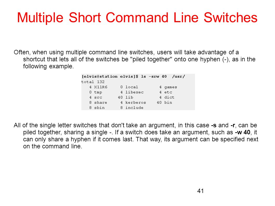 Multiple Short Command Line Switches
