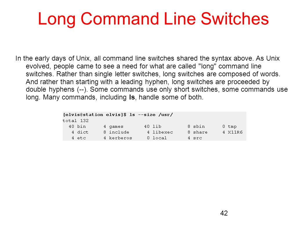 Long Command Line Switches