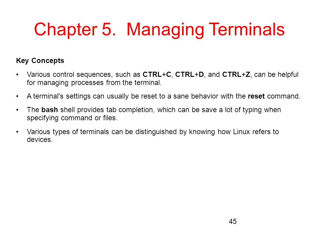 Chapter 5. Managing Terminals