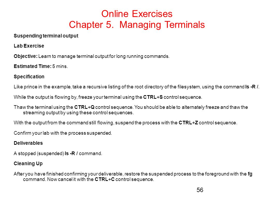Online Exercises Chapter 5. Managing Terminals