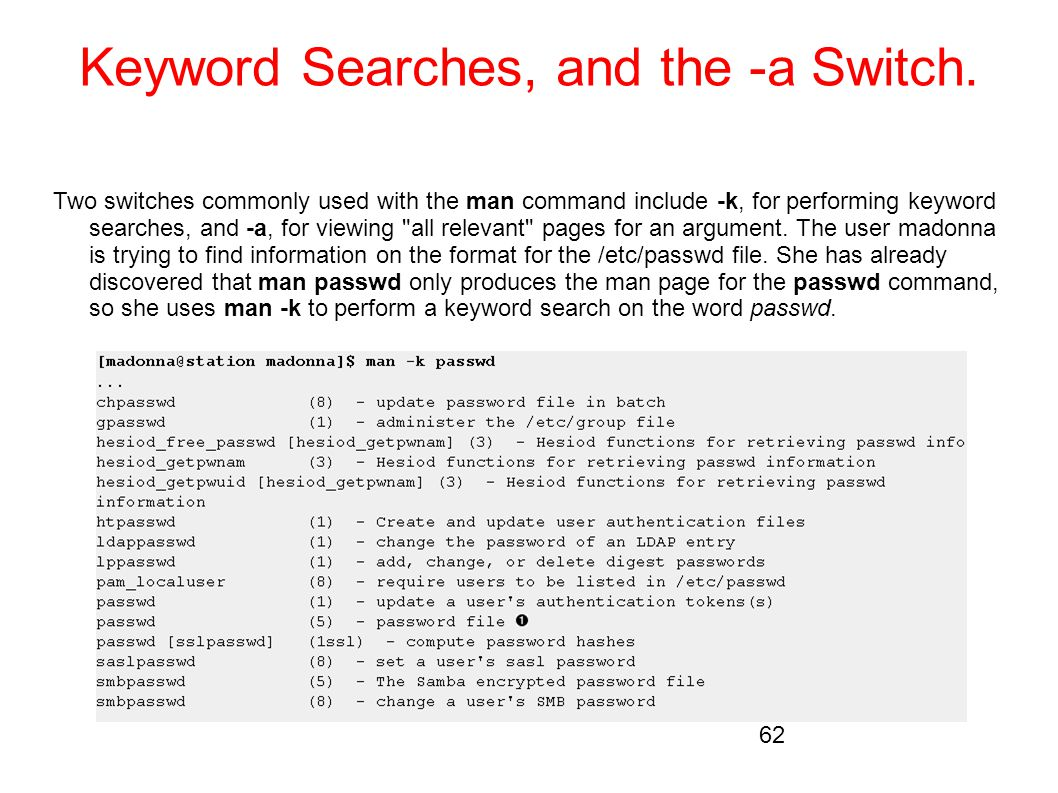 Keyword Searches, and the -a Switch.