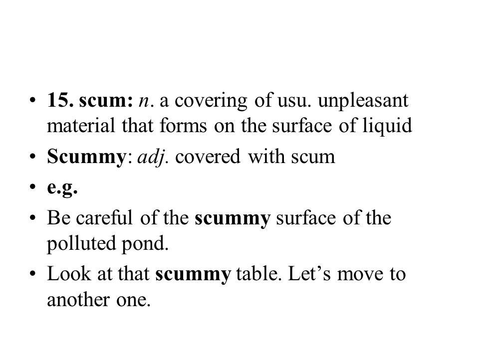 15. scum: n. a covering of usu