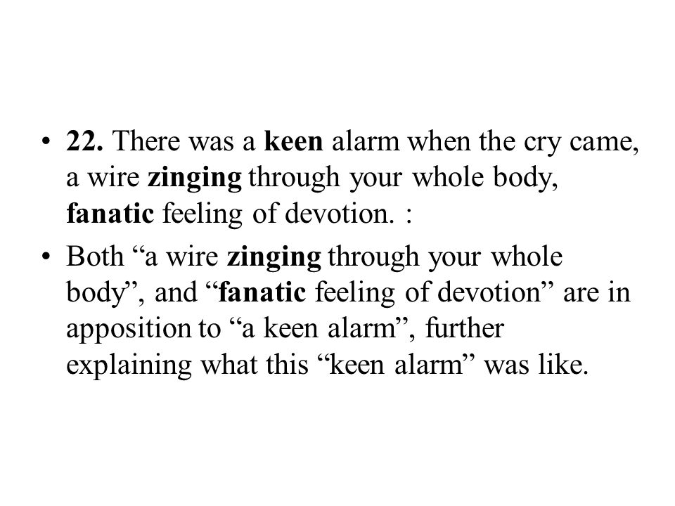 22. There was a keen alarm when the cry came, a wire zinging through your whole body, fanatic feeling of devotion. :