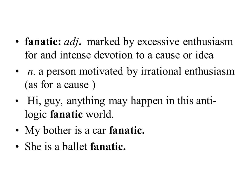 n. a person motivated by irrational enthusiasm (as for a cause )