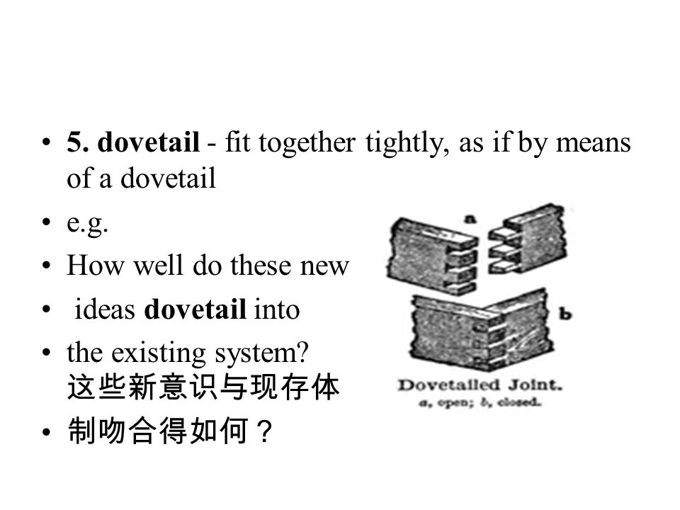 5. dovetail - fit together tightly, as if by means of a dovetail