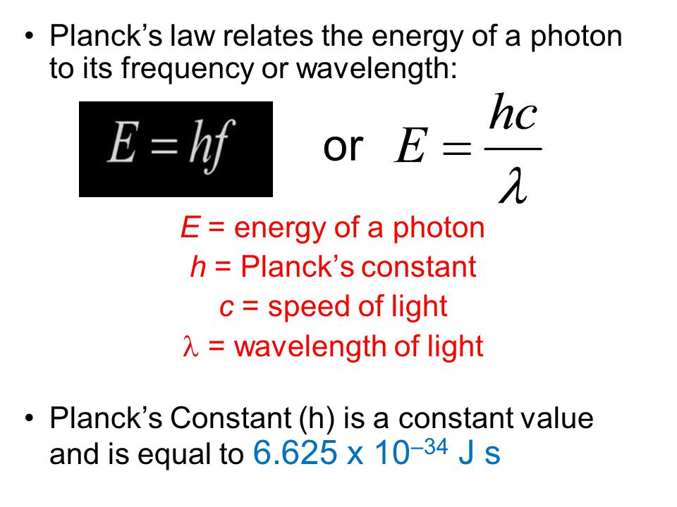 Planck's law relates the energy of a photon to its frequency or wavelength: