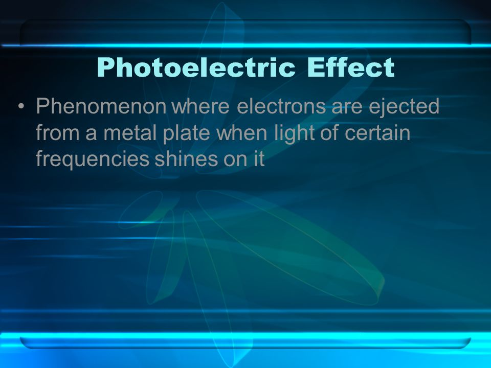 Photoelectric Effect Phenomenon where electrons are ejected from a metal plate when light of certain frequencies shines on it.