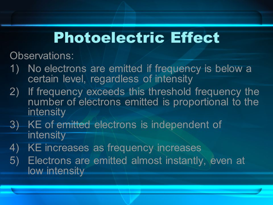 Photoelectric Effect Observations: