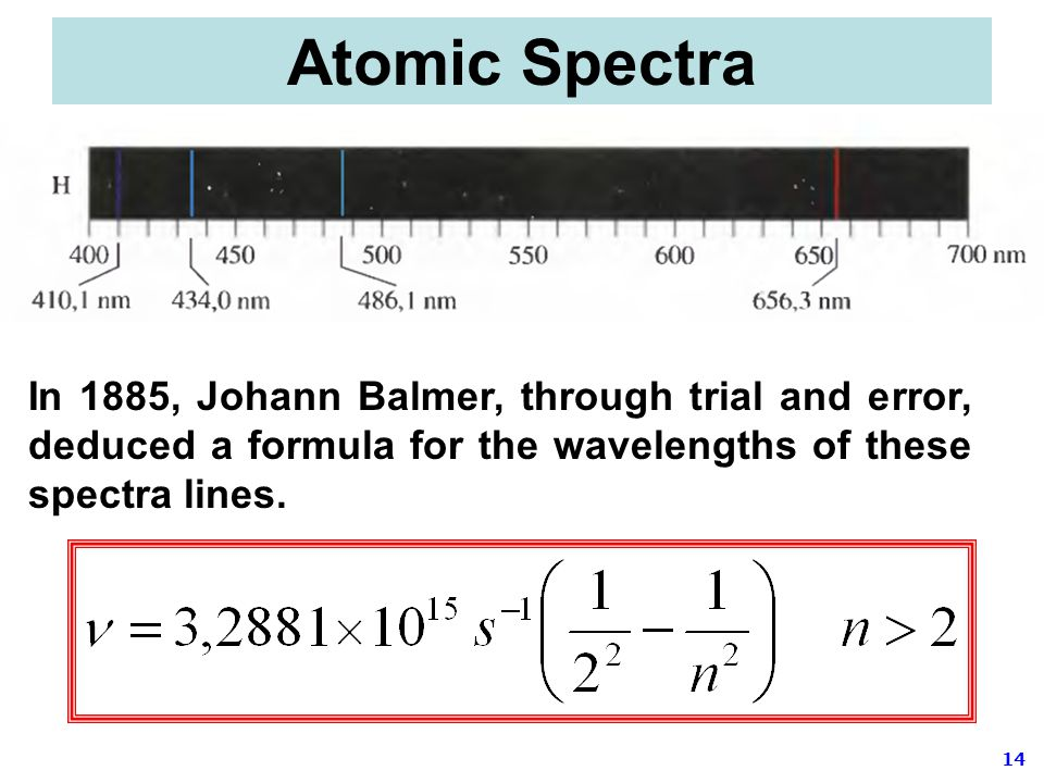Atomic Spectra In 1885, Johann Balmer, through trial and error, deduced a formula for the wavelengths of these spectra lines.