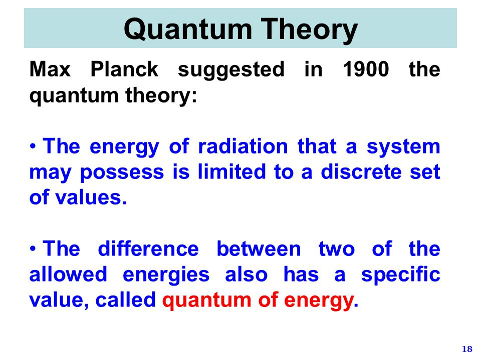 Quantum Theory Max Planck suggested in 1900 the quantum theory: