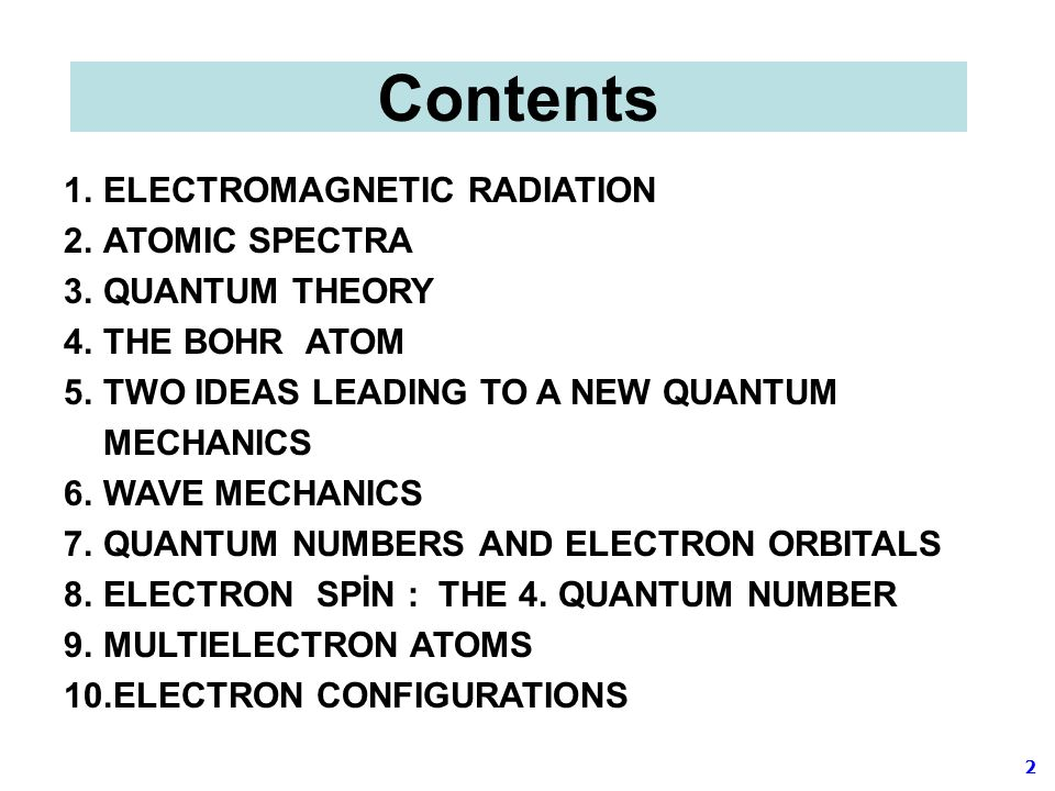 Contents ELECTROMAGNETIC RADIATION ATOMIC SPECTRA QUANTUM THEORY