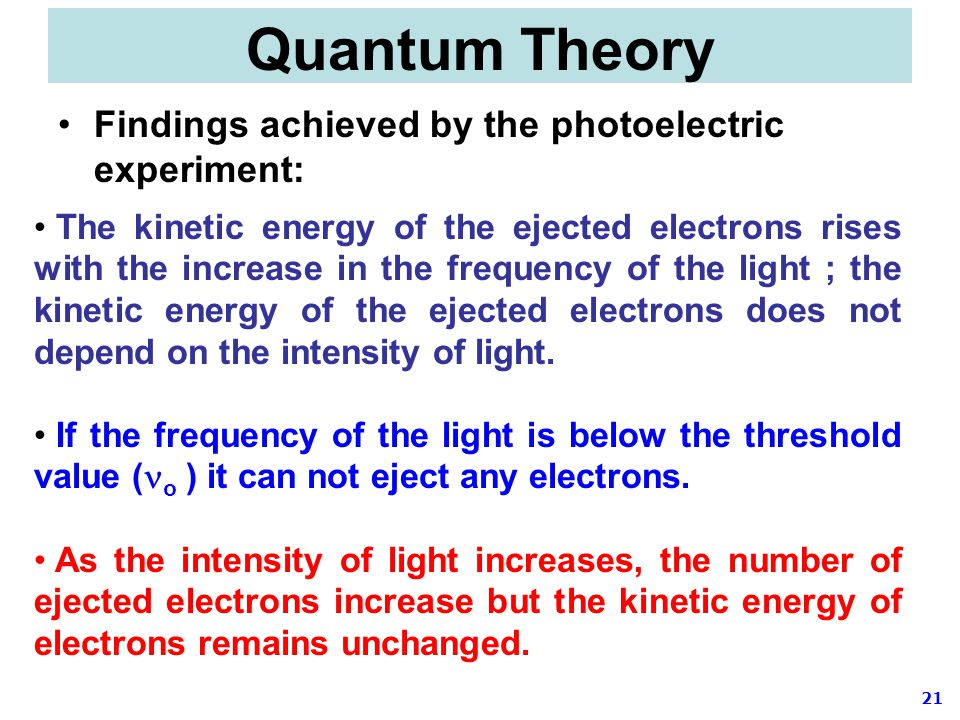 Quantum Theory Findings achieved by the photoelectric experiment: