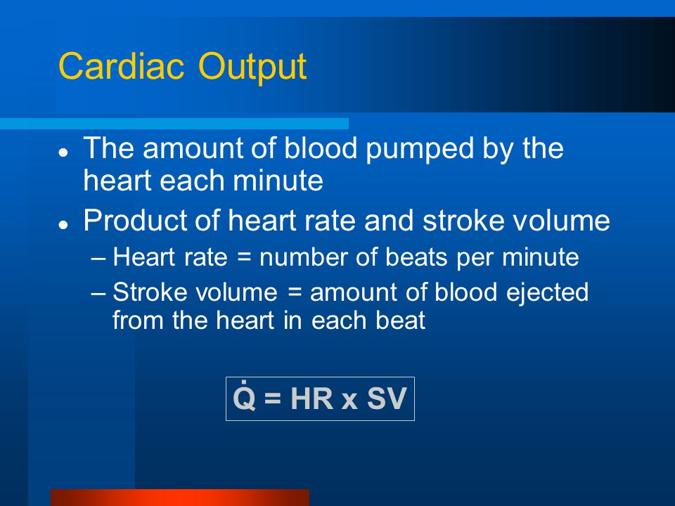Cardiac Output The amount of blood pumped by the heart each minute