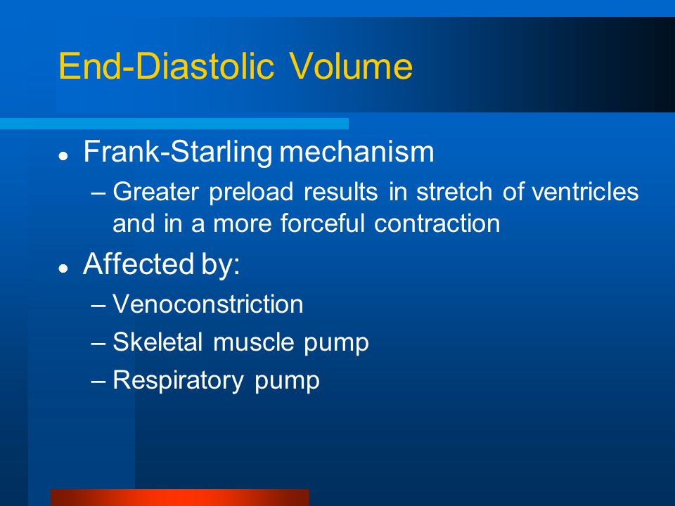 End-Diastolic Volume Frank-Starling mechanism Affected by: