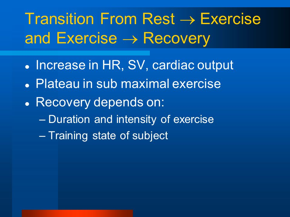 Transition From Rest  Exercise and Exercise  Recovery