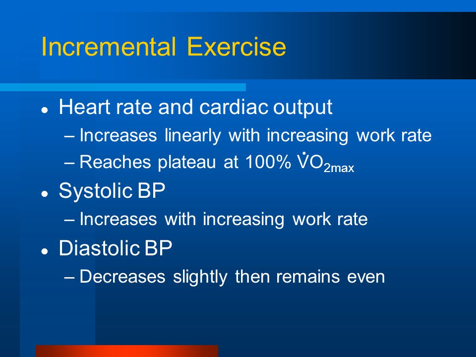 Incremental Exercise Heart rate and cardiac output Systolic BP