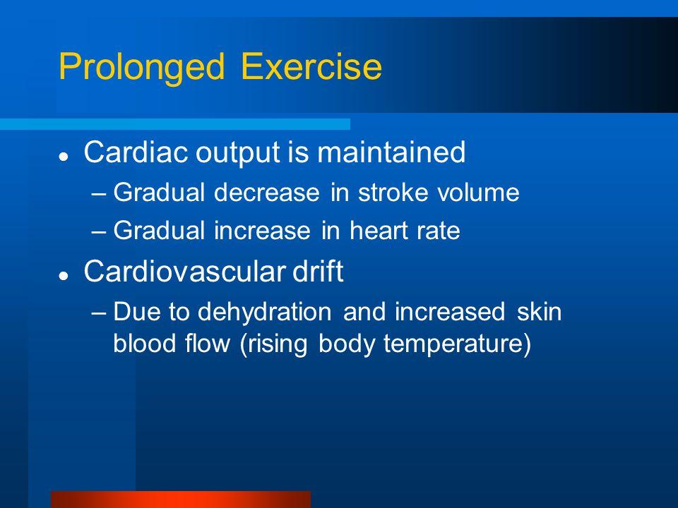 Prolonged Exercise Cardiac output is maintained Cardiovascular drift