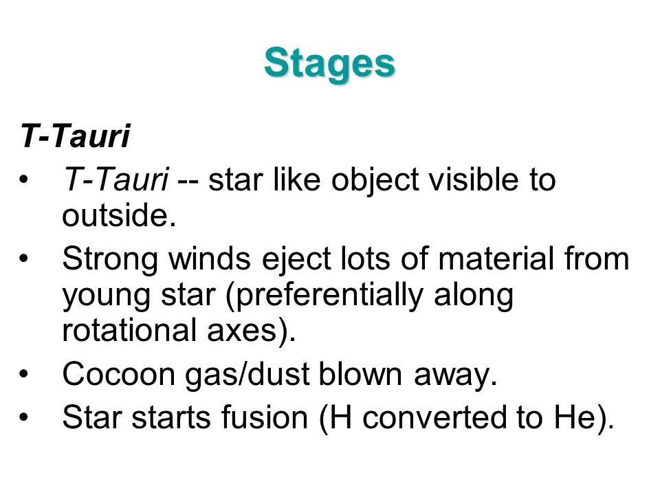 Stages T-Tauri T-Tauri -- star like object visible to outside.