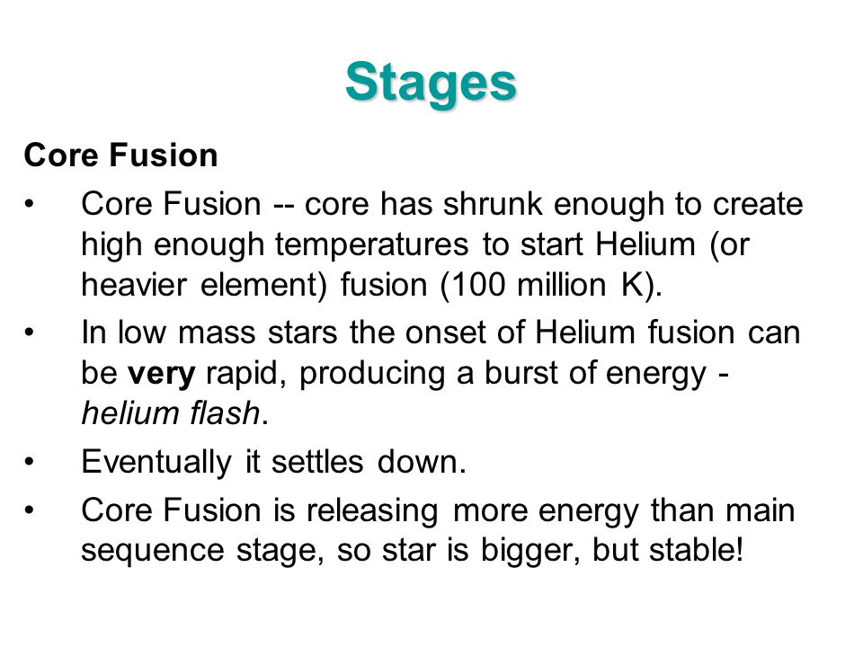 Stages Core Fusion.