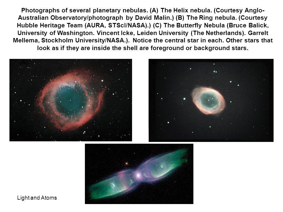 Photographs of several planetary nebulas. (A) The Helix nebula