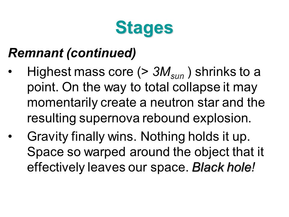Stages Remnant (continued)