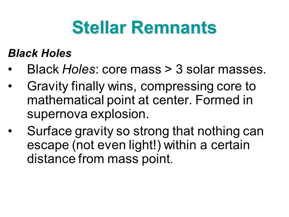 Stellar Remnants Black Holes: core mass > 3 solar masses.