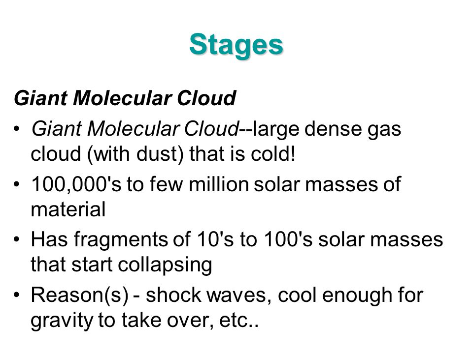 Stages Giant Molecular Cloud