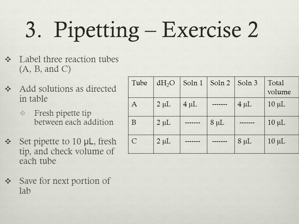 3. Pipetting – Exercise 2 Label three reaction tubes (A, B, and C)