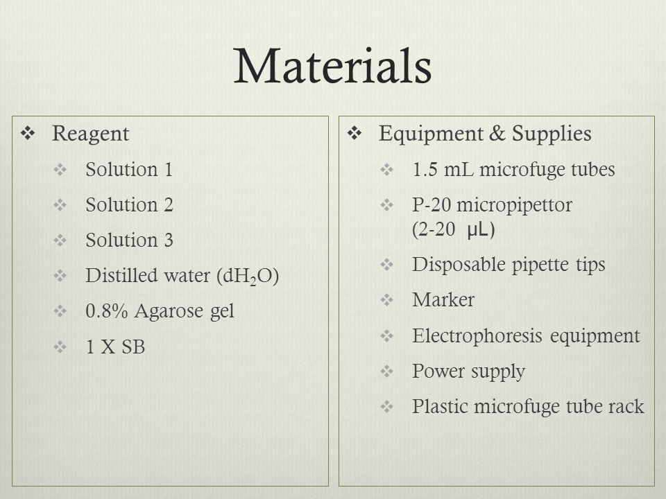 Materials Reagent Equipment & Supplies Solution 1 Solution 2