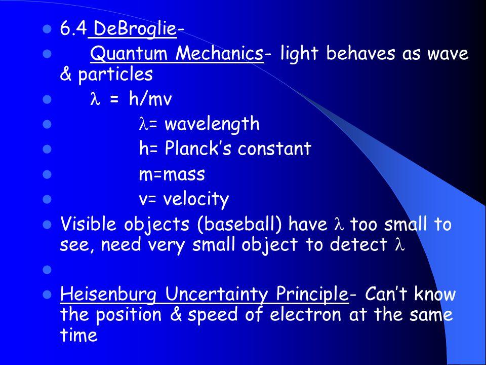 6.4 DeBroglie- Quantum Mechanics- light behaves as wave & particles.  = h/mv. = wavelength. h= Planck's constant.