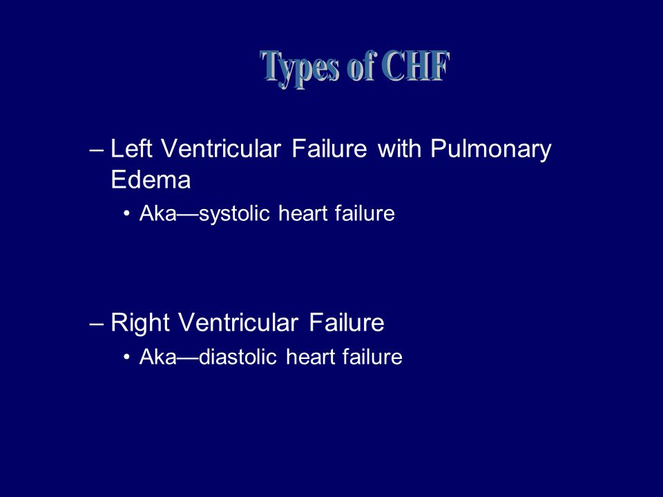 Types of CHF Left Ventricular Failure with Pulmonary Edema