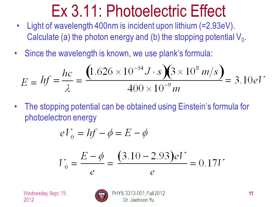 Ex 3.11: Photoelectric Effect