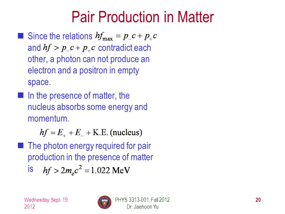 Pair Production in Matter