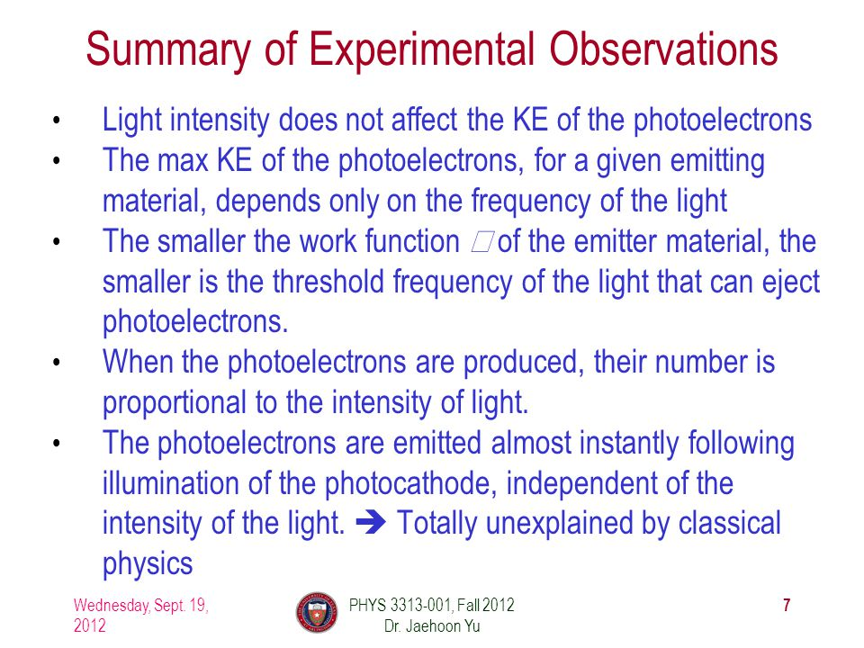 Summary of Experimental Observations