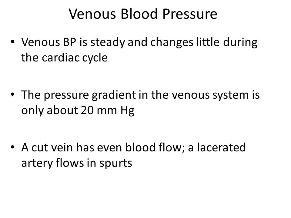 Venous Blood Pressure Venous BP is steady and changes little during the cardiac cycle.