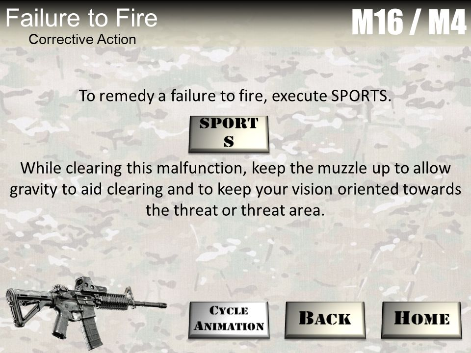 To remedy a failure to fire, execute SPORTS.