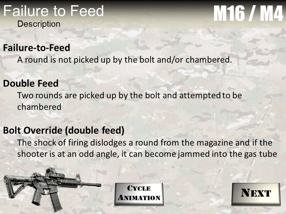 M16 / M4 Failure to Feed Next Failure-to-Feed Double Feed