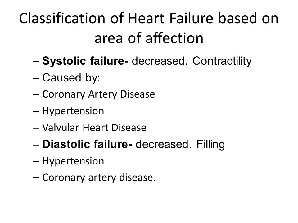 Classification of Heart Failure based on area of affection