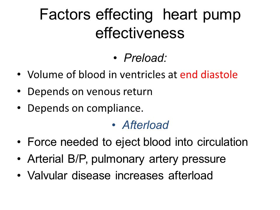 Factors effecting heart pump effectiveness