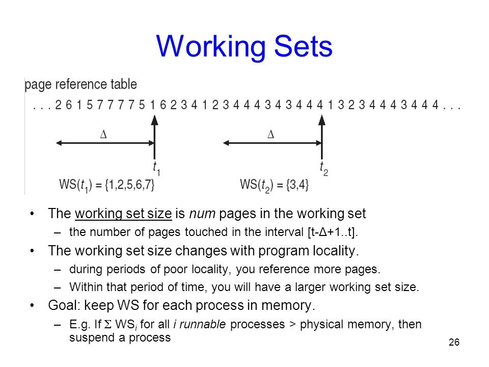 Working Sets The working set size is num pages in the working set