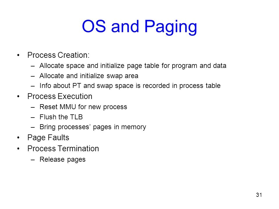 OS and Paging Process Creation: Process Execution Page Faults