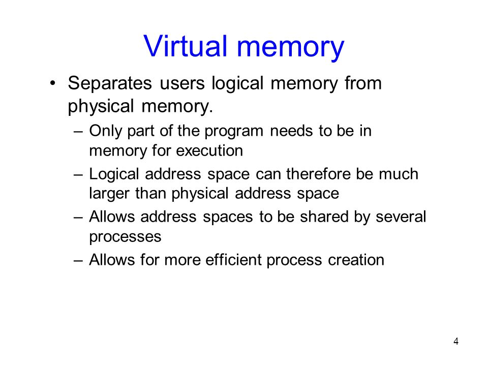 Virtual memory Separates users logical memory from physical memory.