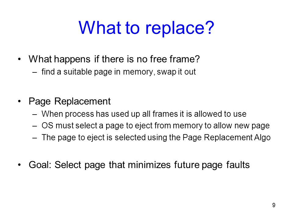 What to replace What happens if there is no free frame