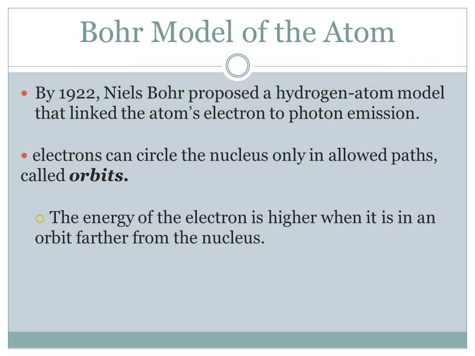 Bohr Model of the Atom By 1922, Niels Bohr proposed a hydrogen-atom model that linked the atom's electron to photon emission.